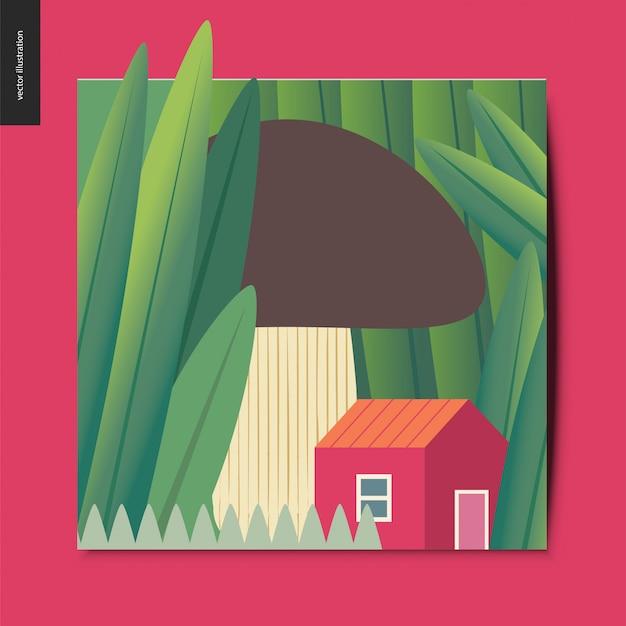 Illustrazione del concetto di una piccola casa rossa sotto il fungo che cresce tra enormi tronchi d'erba