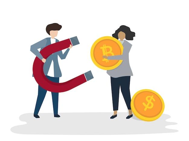 Illustrazione del concetto finanziario di affari dell'avatar della gente