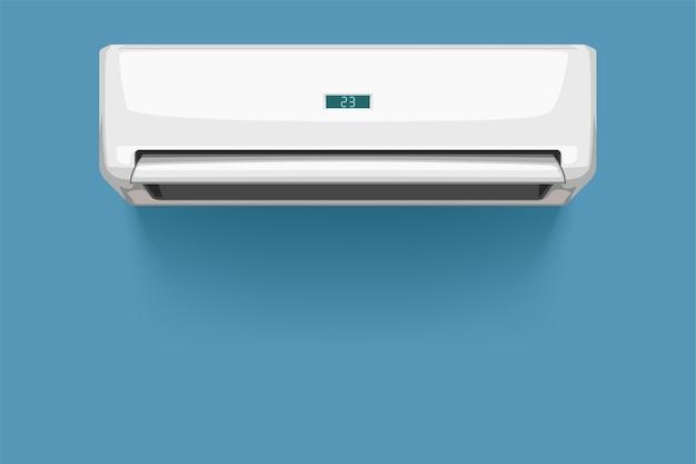 Illustrazione del condizionatore d'aria di colore bianco di vista frontale con ombra realistica su bianco