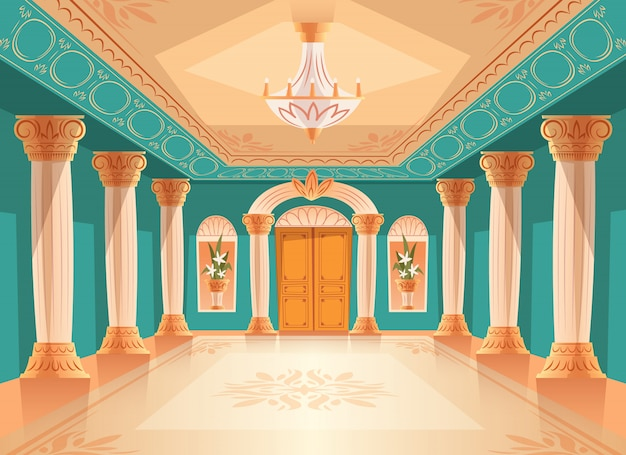 Illustrazione del corridoio di ricezione del salone o della sala da ballo del museo o della stanza di camera di lusso.