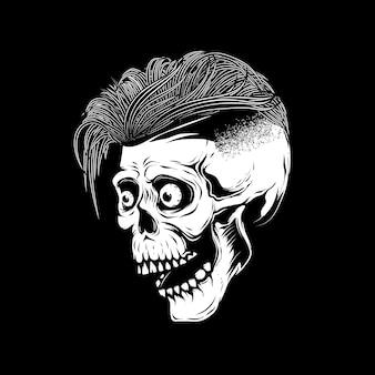 Illustrazione del cranio dei pantaloni a vita bassa su fondo bianco. elemento per poster, emblema, segno, maglietta. illustrazione