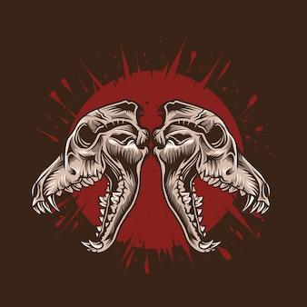 Illustrazione del cranio del lupo con materiale illustrativo dettagliato rosso sangue