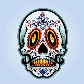 Illustrazione del cranio di dia de muertos