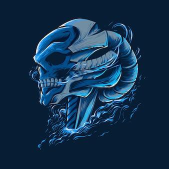 Illustrazione del cranio di robot
