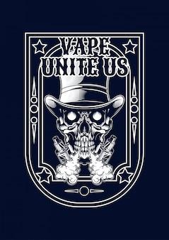 Illustrazione del cranio di vape per t-shirt