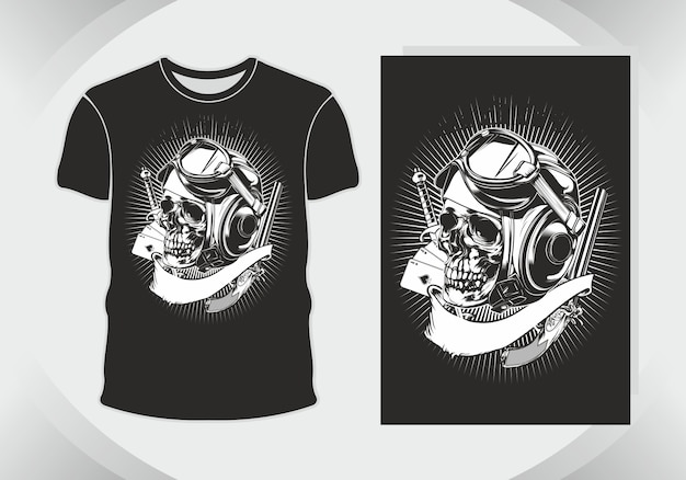 Illustrazione del cranio e maglietta