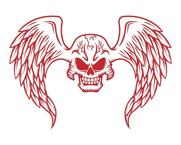 Illustrazione del cranio logo, icona o teschio con le ali