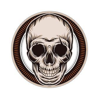 Illustrazione del cranio marrone