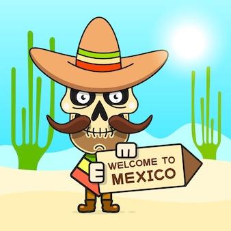 Illustrazione del cranio messicano del fumetto per dia de los muertos. carino teschio maschile