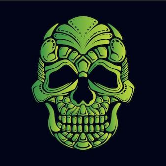 Illustrazione del cranio verde