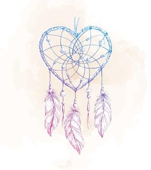 Illustrazione del cuore di dreamcatcher
