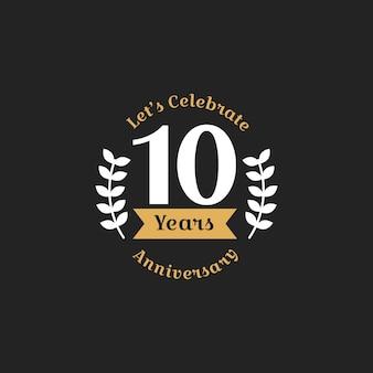 Illustrazione del decimo anniversario timbro banner