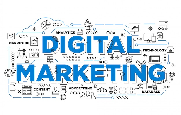 Illustrazione del design di banner di marketing digitale con stile iconico