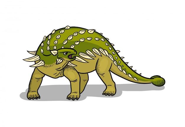 Illustrazione del dinosauro ankylosaurus nello stile del fumetto.