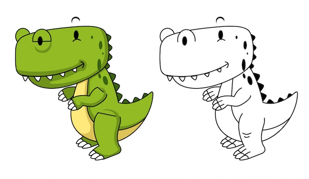 Illustrazione del dinosauro educativo da colorare