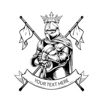 Illustrazione del disegno della mano del cappotto delle armi del cavaliere