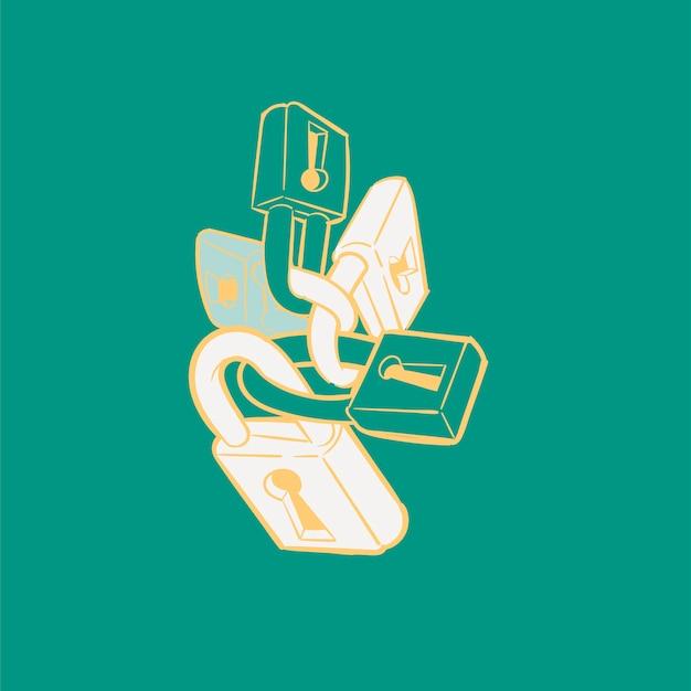 Illustrazione del disegno della mano del concetto di sicurezza