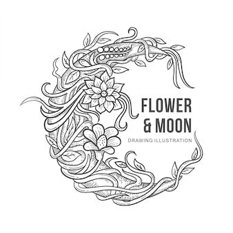 Illustrazione del disegno di luna e fiori