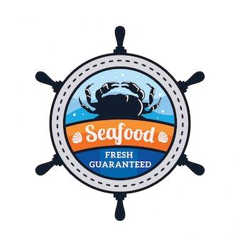 Illustrazione del distintivo di logo del ristorante di pesce fresco di qualità