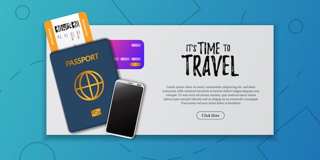 Illustrazione del documento di vacanza viaggio. carta d'imbarco biglietto aereo, passaporto immigrazione, carta di credito, telefono, vista dall'alto. pubblicità turistica per le vacanze