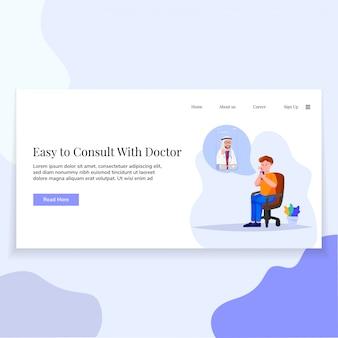 Illustrazione del dottore online landing page ui design