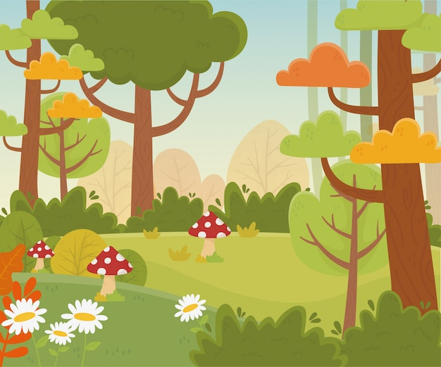 Illustrazione del fogliame della natura degli alberi di fungo dei fiori del prato del paesaggio