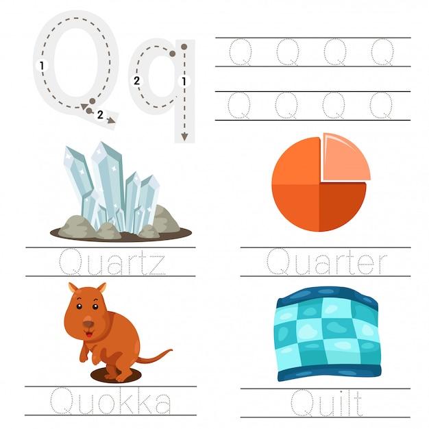 Illustrazione del foglio di lavoro per bambini q font