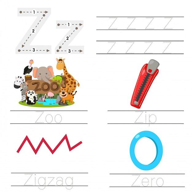 Illustrazione del foglio di lavoro per bambini z font