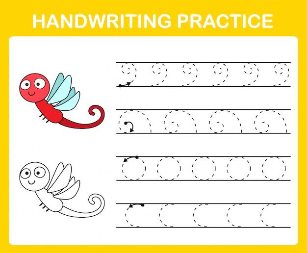 Illustrazione del foglio di pratica della scrittura a mano