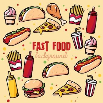 Illustrazione del fondo degli alimenti a rapida preparazione retro