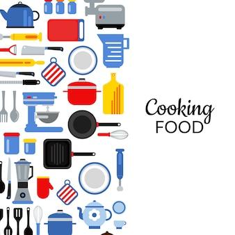 Illustrazione del fondo degli utensili della cucina di stile piano del manifesto e dell'insegna con il posto per testo