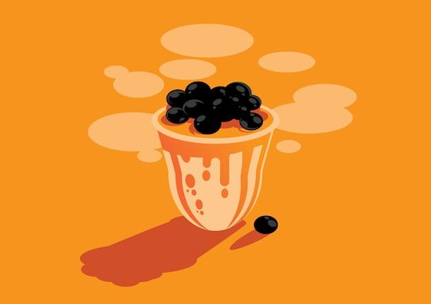 Illustrazione del fondo del tè al latte delle bolle di taiwan