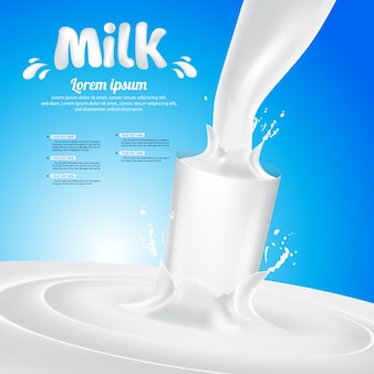 Illustrazione del fondo di vettore della spruzzata di vetro di latte