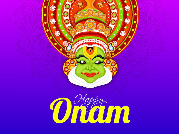 Illustrazione del fronte del ballerino di kathakali su fondo floreale porpora per progettazione felice della cartolina d'auguri di celebrazione di onam.