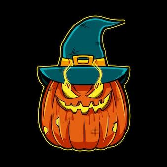 Illustrazione del fronte della zucca di halloween