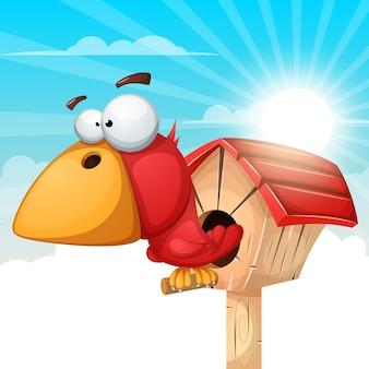 Illustrazione del fumetto birdhouse. paesaggio nuvola