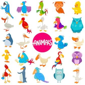 Illustrazione del fumetto degli uccelli caratteri animali messi