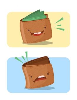 Illustrazione del fumetto dei portafogli vuoti pieni e tristi felici
