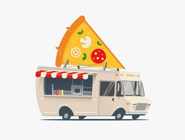 Illustrazione del fumetto del camion dell'alimento della pizza. concetto di servizio di consegna pizza. isolato su sfondo bianco illustrazione
