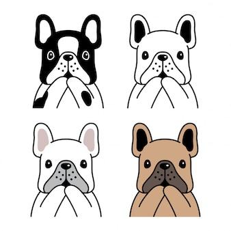 Illustrazione del fumetto del cane bulldog francese