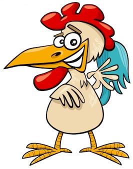 Illustrazione del fumetto del carattere comico dell'animale dell'uccello di fattoria del gallo