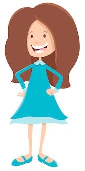 Illustrazione del fumetto del carattere del bambino o teenager della ragazza