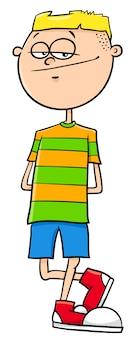 Illustrazione del fumetto del carattere del ragazzo di età elementare o teenager