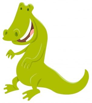 Illustrazione del fumetto del carattere divertente del coccodrillo