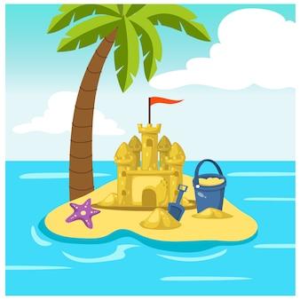 Illustrazione del fumetto del castello della sabbia, giocattoli della sabbiera dei bambini, mare, spiaggia, isola, albero del plam, stelle marine. illustrazione
