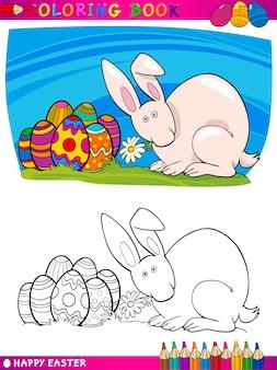 Illustrazione del fumetto del coniglietto di pasqua per colorare