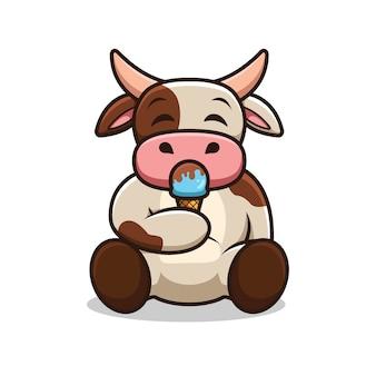 Illustrazione del fumetto del gelato di cibo della mucca