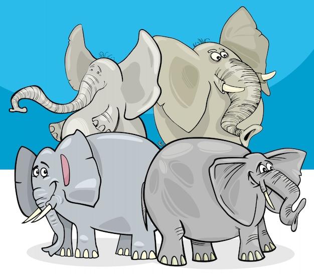 Illustrazione del fumetto del gruppo dei caratteri degli elefanti