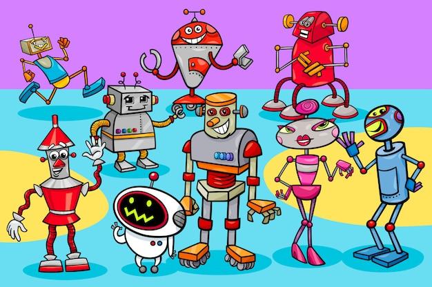 Illustrazione del fumetto del gruppo dei caratteri dei robot