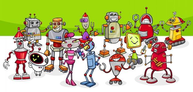 Illustrazione del fumetto del gruppo dei caratteri di fantasia dei robot